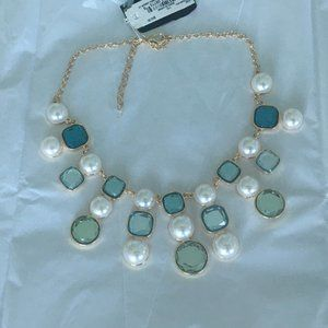 Anne Klein stones and pearls frontal bib necklace